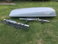 Kamei Delphin 460l Roof box, Thule roof rack and bike carriers