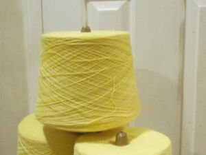 Yellow Yarn on cones - for knitting machines