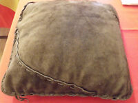 brown suede pillow