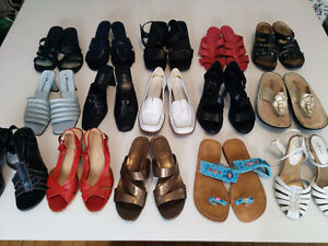 Size 6 - 7  Various Summer Sandals (15 pairs)