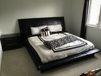 Black Leather Bed Frame With 2 Nightstands, Dresser with mirror