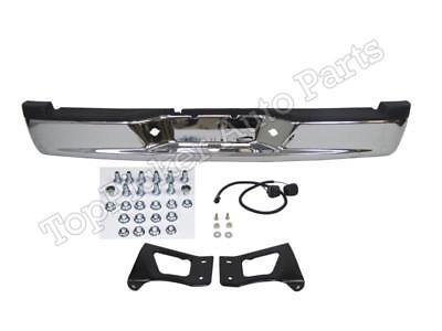 For 2005-2011 DAKOTA REAR STEP STEP BUMPER FULL ASSY CHROME W/PAD BRACKET LAMPS (Full Step Pad)