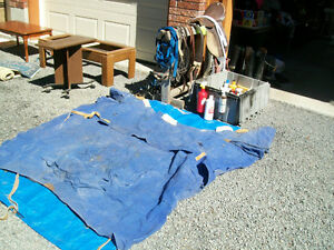 Horse tack and riding gear. Blankets, helmets, boots, tack box..