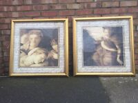 Pair of large framed pictures