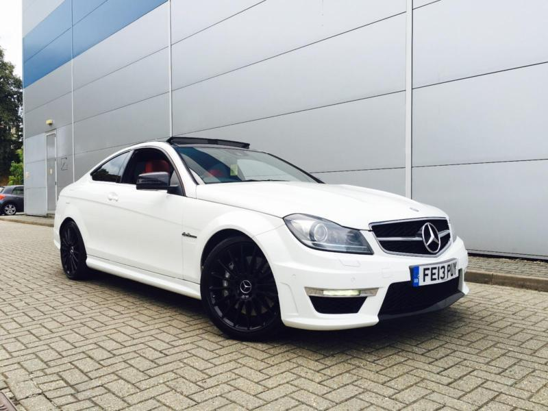 2013 13 reg mercedes-benz c63 amg 6.3 coupe + white + red leather