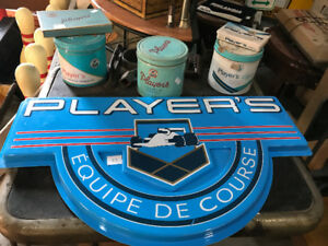 VINTAGE PLAYER'S CIGARETTES RACING SIGN AND TINS