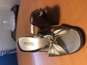 Michael Kors gold high heel sandals size 6.5 used only a few tms