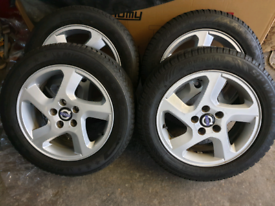 "16"" volvo alloy wheels and winter tyres fit ford connect jaguar"