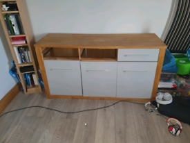 Solid wood sideboard £40 and tv unit £30 Has been painted grey Prices