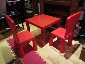 Ikea children's chairs and table