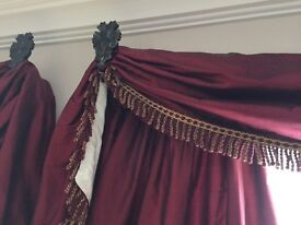 Fully lined silk curtains & fittings & cushions