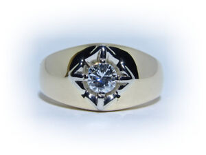 Men's 0.41ct Solitaire Diamond 14kt Gold Ring Appraised at $3785
