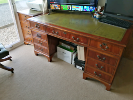 Antique desk, drawers and captains chair