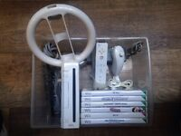 Nintendo Wii Console Controllers and 5 Games Wario, Wii Play Mention and Get New Wii Fit Board £5