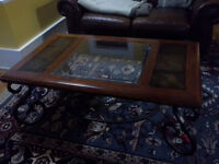 Iron and wood and glass coffee table