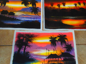 3 LARGE South Seas Silkscreen Paintings: Warm & Vibrant!