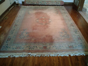 Negotiable - Handwoven Wool Area Rug (Pink with Chinese Letters)