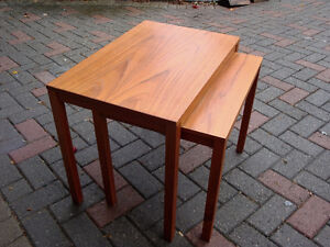 Teak stacking tables, MId century modern, Danish teak.