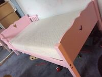 Saplings pink toddler bed with sprung mattress
