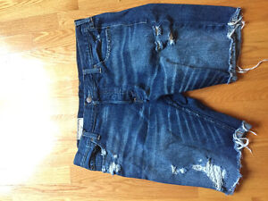Ripped men's jeans short hollister
