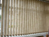 Vertical blind, beige, 272cm wide x 138cm drop, excellent condition