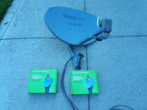 Shaw 60E HD satellite dish, cables & 2 HDDSR600 receivers.