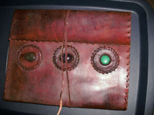 jewelled, leather journal book