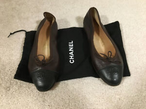 Authentic brown chanel ballerina flats 37; hermes vuitton gucci