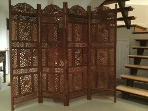 Indonesian carved wood room divider / paravent indonésien bois
