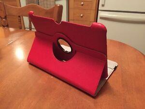 Étui pour tablette en cuir rouge