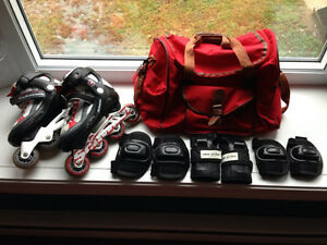 Used set of rollerblades skates + red bag + protective gear
