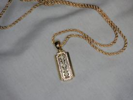 9ct Gold plated razor pendant with CZ stones