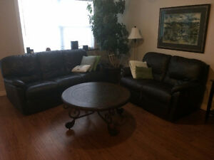 Genuine Leather Pallister Recliner Couch and Love Seat