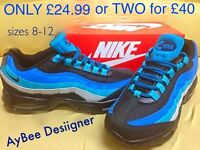 NIKE AIR MAX 90 95 BLUE/BLACK BOXED UP SIZES 8 9 10 11 12 WHOLESALE