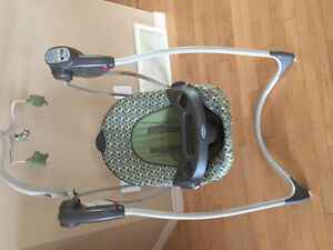 Bumbo chair with tray, graco swing and bottle sterilizer