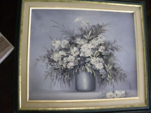 Reduced -Painting (original) of daisies - mostly blue