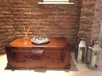 Leather vintage trunk coffee table