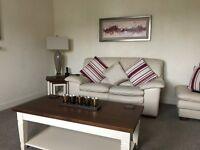 Cream Leather Sofa & chairs