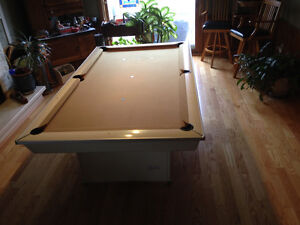 1960's Brunswick pool table, light, clock and accessories