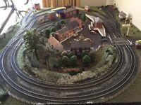 "Model Railway Layout ""OO"" gauge 158.5cm X 122.5cm on collapsible metal frame"