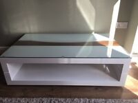 Modern White Coffee Table (glass top included!)