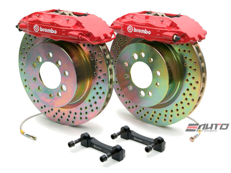 Brembo Front Gt Brake Bbk 4piston Red 355x32 Drill Disc Rotor Mustang 05-13