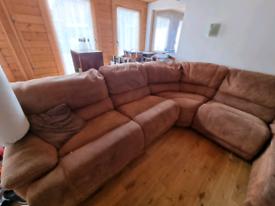 Very large buffalo skin recliner sofa