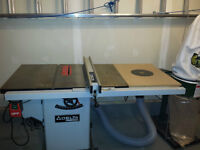 Delta Hybrid Industrial Table Saw, router, dust collector
