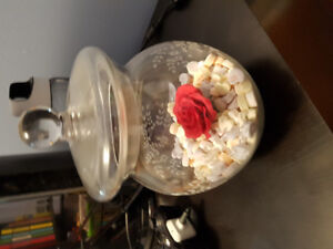 Glass Jar with Lid and Floral Etching