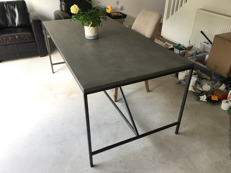 Willis Gambier Faro Large Concrete Effect Dining Table With Metal Legs For