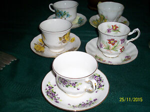 Six CHINA cups and saucers