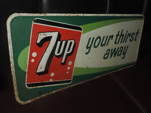 "7up embossed ""your thirst away"" tin corner store sign 1964 stamp"