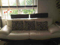 WHITE/BLACK LEATHER 4 SEATER SOFA