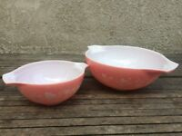 Mid Century Vintage Pyrex Cinderella Nesting Mixing Bowls Set of 2 Pink Gooseberry Pattern